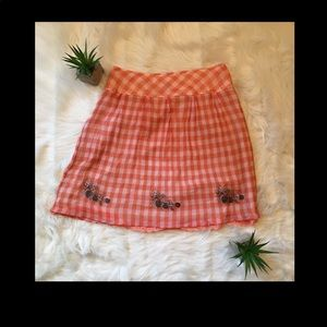 Free People Orange Plaid Mini Skirt Size 6